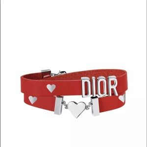 DIOR Double Wrapped Red Leather Heart Bracelet